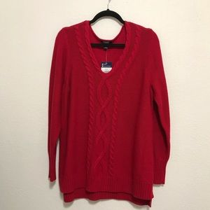 CHAPS Womens Red Long Sleeve Sweater